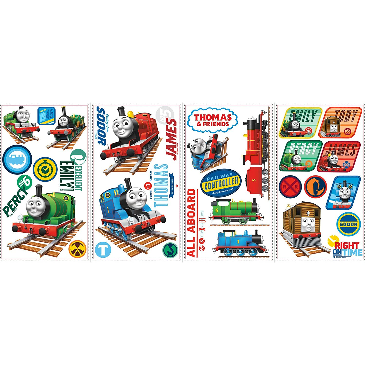Roommates Rmk1831Scs Thomas The Tank Engine Peel And Stick Wall Decals, 33  Count   Decorative Wall Appliques   Amazon.com