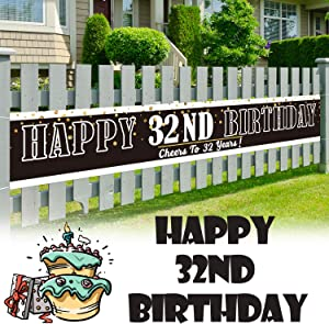 LINGPAR 9.8 x 1.6 ft Large Sign Happy 32nd Birthday Banner - Cheers to 32 Years Old Decor