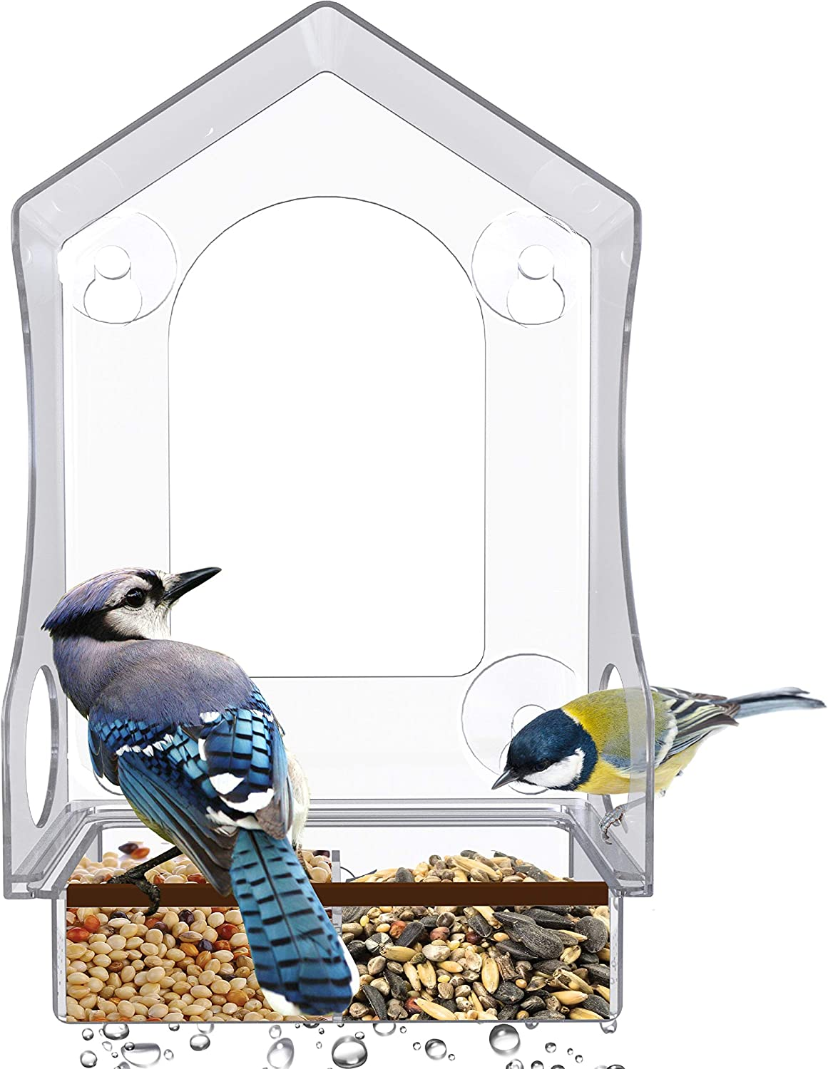 Birdious Villa Window Bird Feeder – Tall Suction Cup Bird Feeder with Sliding Tray, 2 Bird Seed Holders with Drainage, Wide Viewing Hole + 2 Side Holes - Clear Acrylic Bird Feeder, Bird Watcher Gifts