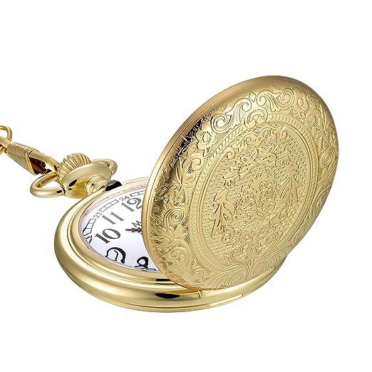 Reloj de Bolsillo de Cuarzo de Acero Inoxidable Vintage Dorado con Cadena de Collar: Amazon.es: Relojes