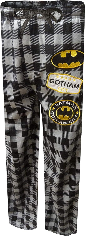 Bioworld Merchandising Men's Batman Modern Flannel Buffalo Plaid Lounge Pants