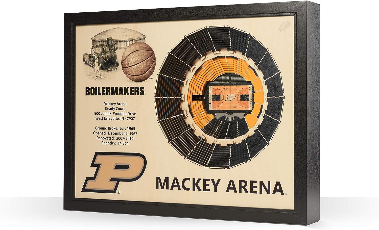 """NCAA Purdue Boilermakers 25-Layer Stadiumviews 3D Wall Art, Purdue Boilermakers, Basketball, 25.5"""" x 19.5"""" x 3.5"""", Team Color"""