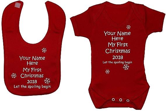 Personalised Name My First Christmas /& Year Baby Bodysuit//Romper /& Feeding Bib