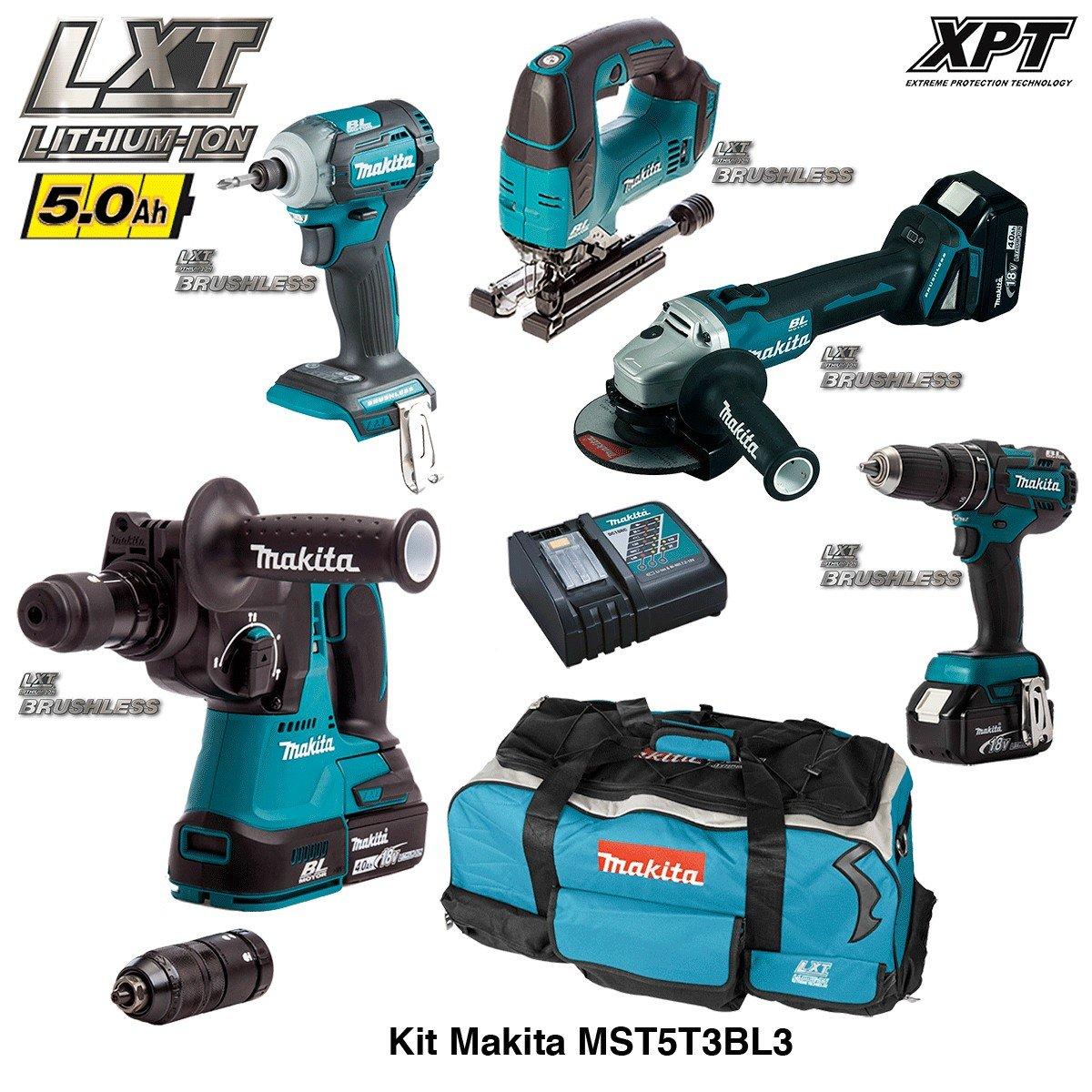 DHR243 + DTD148 + DGA504 + DHP480 + DJV182 + 3 x 5,0 Ah + DC18RC + Trolley Brushless MAKITA Kit MST5T3BL3 18V