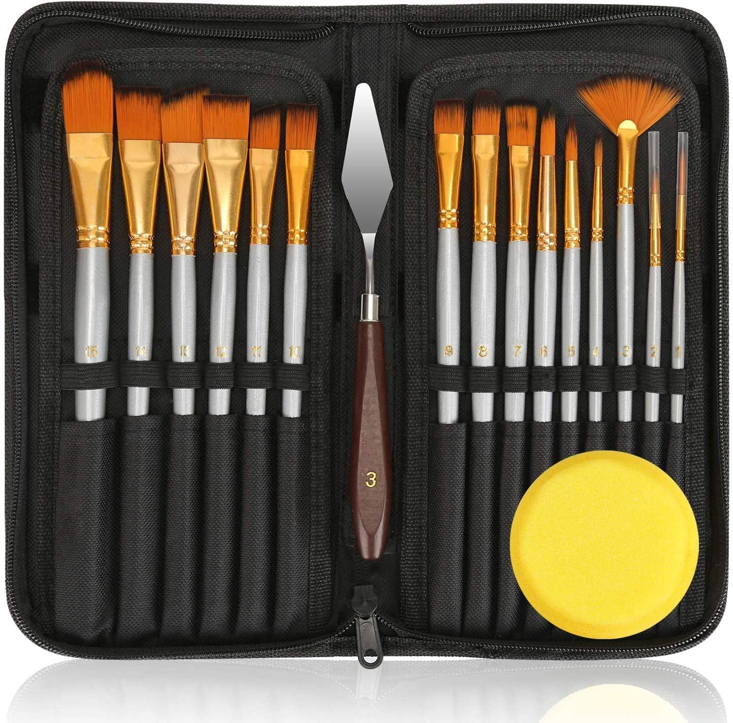 New 15 Pcs Assorted Size Artist Brushes Set Art Craft Artist Painting Brush Set