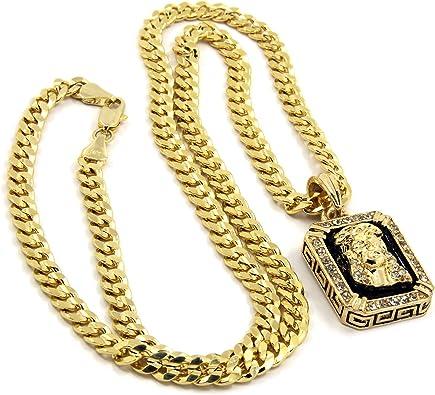 """CZ 20/"""", 24/"""" Cuban + 24 Rope Chain 4 pcs Bundle 14k Gold Plated LION Pendant"""