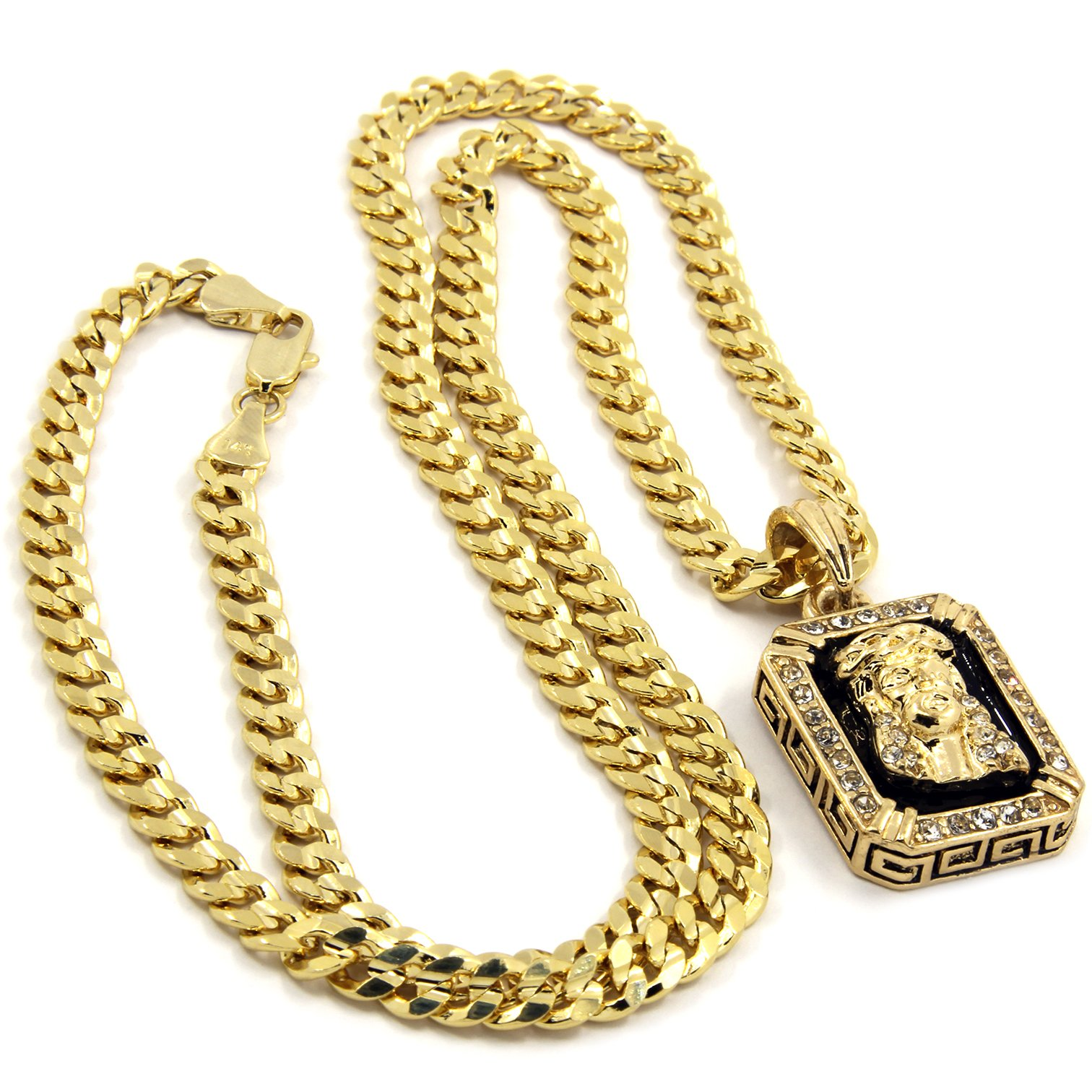 Mens Gold Plated Hip-Hop Iced Cz Black Ruby Jesus Face Pendant 5mm 24'' Cuban Chain Necklace D541