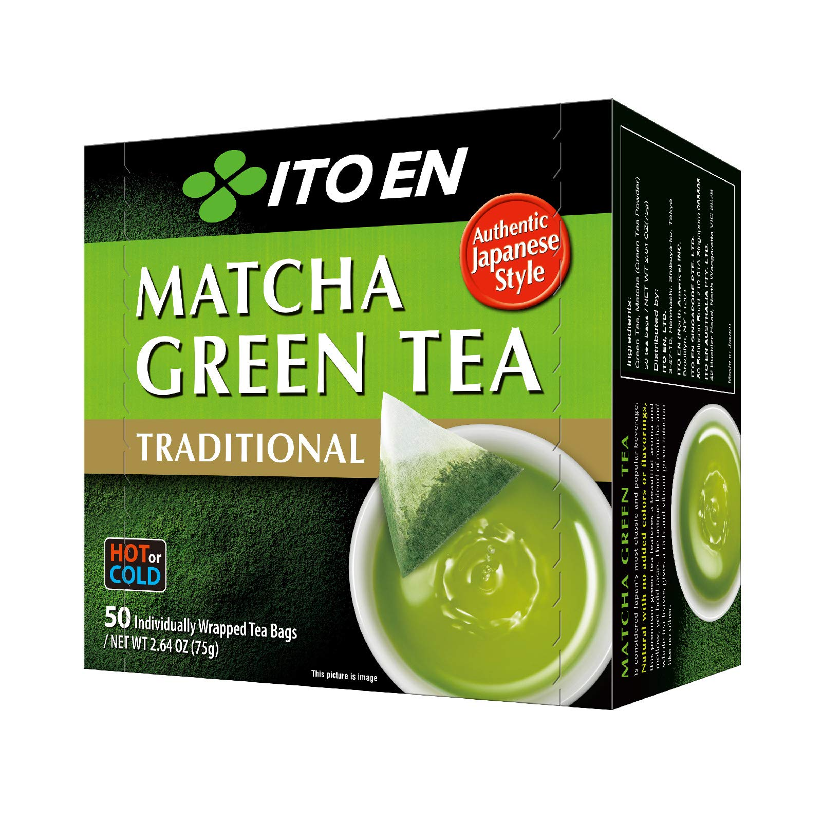 Ito En Traditional Matcha Green Tea 50 Count Zero Calories, Caffeinated