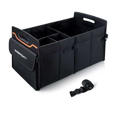SSBRIGHT Large capacity Collapsible Trunk Car Cargo Organizer Multi Compartments Containers Auto Car Trunk Storage with Straps Handles for SUV Car Truck Jeep Minivan: Home Improvement