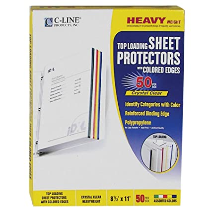 Amazon.com : C-Line Colored Edge Sheet Protectors for 8.5 x 11 Inch ...