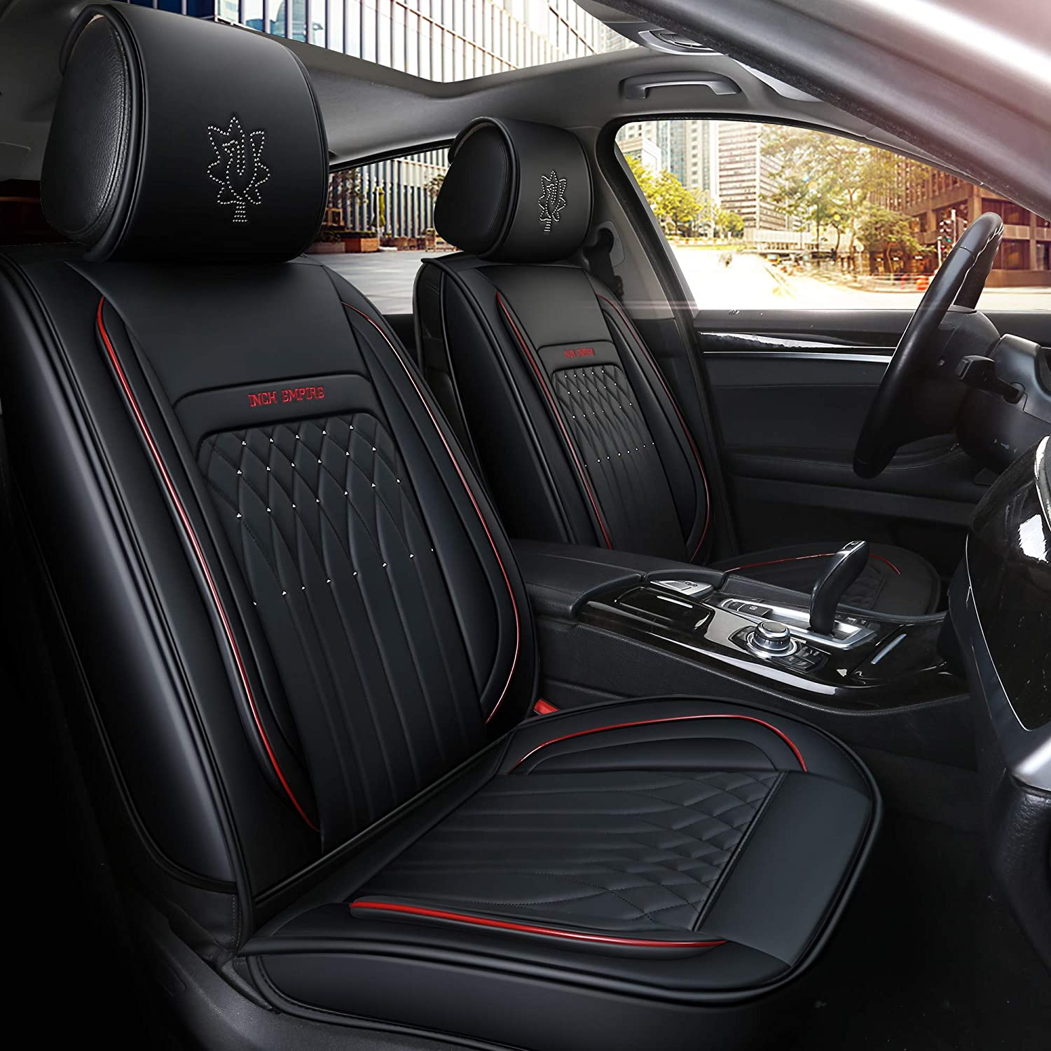 INCH EMPIRE Easy to Clean Car Seat Cushions Synthetic Leather Universal Fit Car Seat Cover for Corolla Cruze Legacy Malibu Maxima Tacoma Black with Red Line Full Set