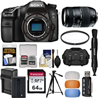 Sony Alpha A68 Digital SLR Camera Body with Tamron 70-300mm Lens + 64GB Card + Battery & Charger + Case + Tripod + Filter + Kit