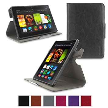 buy popular 5f002 642d7 rooCASE Kindle Fire HDX 7 2013 Case Orb Folio 360 Dual View PU Leather Case  [Support Auto Sleep/Wake] for Amazon Kindle Fire HDX 7 (2013 Previous ...