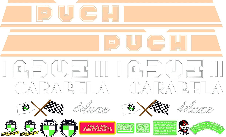 Kit de adhesivos motos clasicas Puch CARABELA Deluxe m/áxima Calidad. Juego Pegatinas Completo Vinilo para Moto
