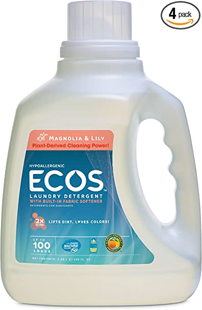 Amazon Com Earth Friendly Products Ecos 2x Liquid Laundry Detergent With Built In Softener Magnolia Lily 100 Loads 100 Ounce Bottle Pack Of 4 Health Personal Care