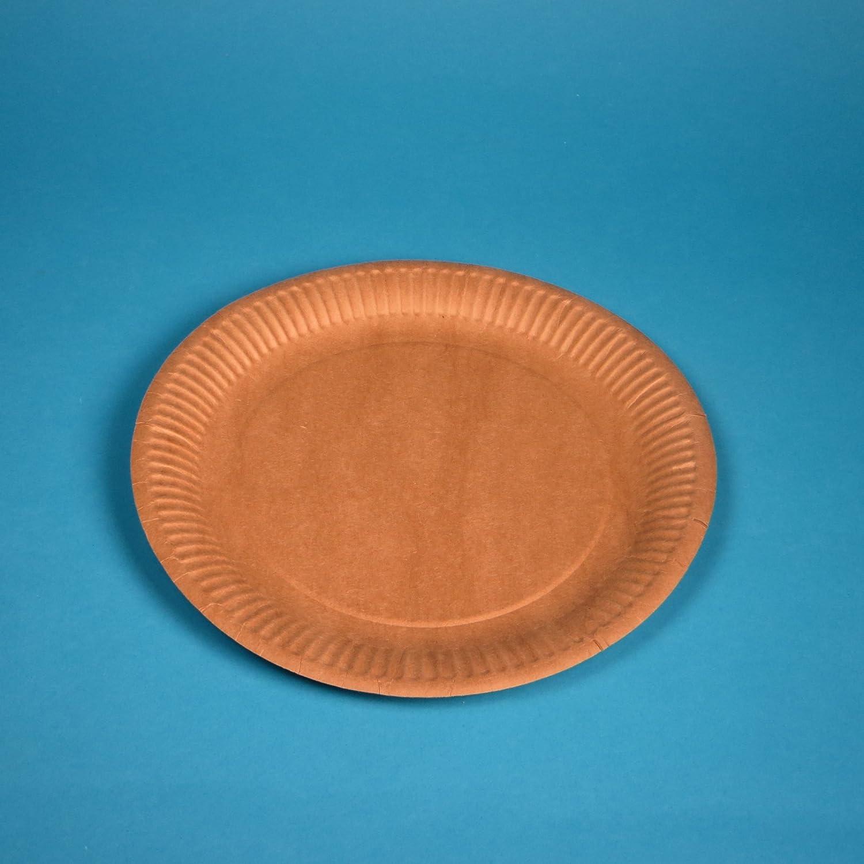 900 Bio Pappteller Imbissteller Kuchenpappen rund Ø 23cm braun Frischfaser kompostierbar ohne Recyclinganteil 100% lebensmitteltauglich Pro DP Verpackungen