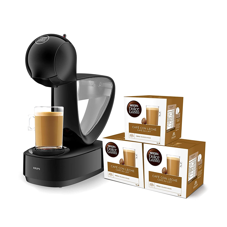 ... 15 bares de presión, depósito extraible, bandeja regulable a 3 alturas, color negro + 3 packs de café Dolce Gusto Con Leche: Amazon.es: Hogar