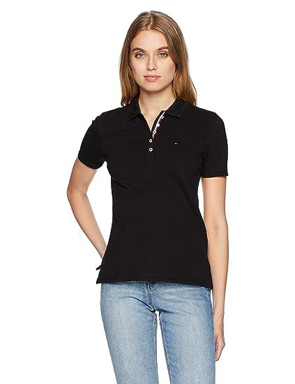 70c87010d9c Tommy Jeans Women's Short Sleeve Polo Shirt, Black (Tommy Black 078), X