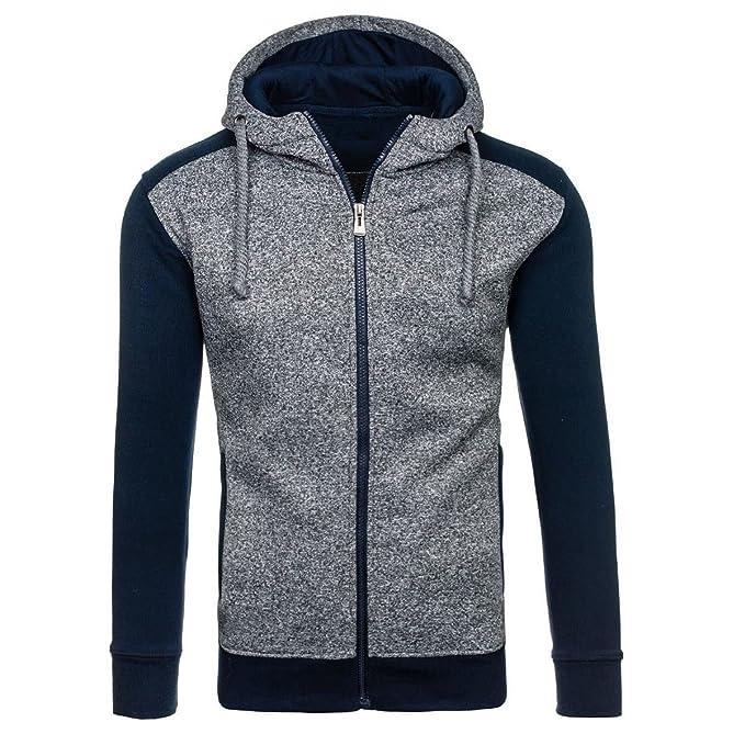 JINGLIYA Hombre Costura Joven Simple Tops Jacket Sudadera Sudaderas Con Cremallera: Amazon.es: Ropa y accesorios