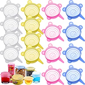16 Pieces 2.6 Inch Silicone Stretch Lids Reusable Expandable Durable Silicone Lids for Regular Cups, Mugs, Soda, Canned Pet Food, Canning