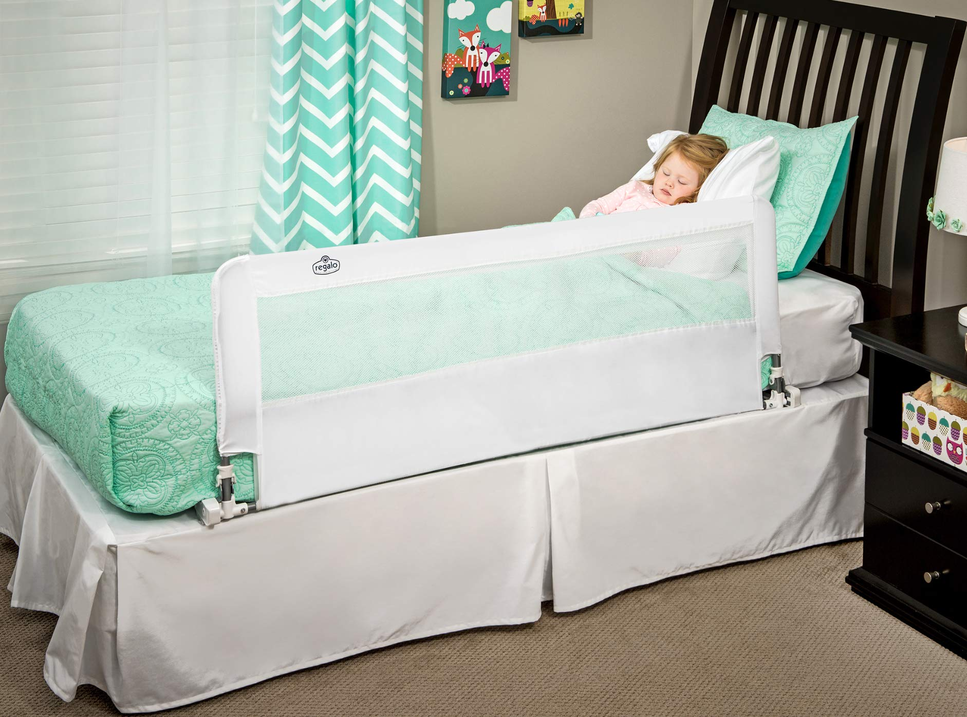 Regalo Hideaway 54-Inch Extra Long Bed Rail Guard, with Reinforced Anchor Safety System by Regalo