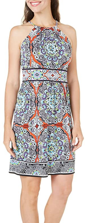 London Times Womens Medallion Print Sundress 12 Blue multi