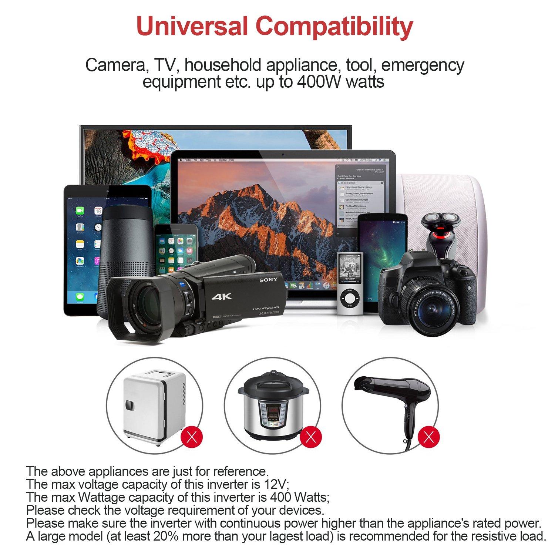 Amazon.es: Inversor de Corriente 400W Convertidor Corriente de 12V a 220V-240V Transformador Inverter con Salida USB, Outlet EU/UK, Pinzas de Conexión a ...