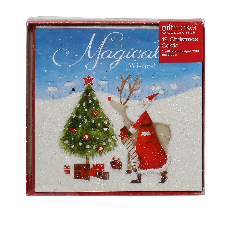Amazon.com: Christmas Shop Assorted Square Christmas Cards (12 Pack ...