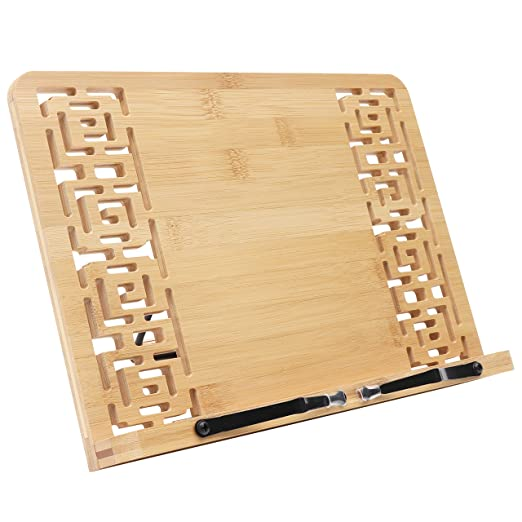 Kurtzy Atril para Libros - Plegable Bambú Soporte (33.5 x 24cm) para Lectura Atril 5 Alturas Ajustables - Atril Lectura para Libros, Notas ...