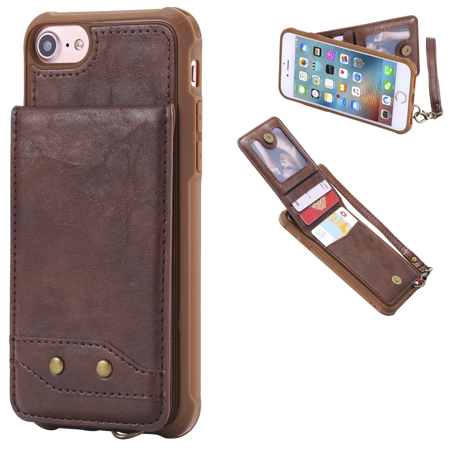 DAMONDY iPhone 6s Case, iPhone 6 Case, Luxury Wallet Purse Card Holders Design Cover Soft Shockproof Bumper Flip Leather Kickstand Magnetic Clasp With Wrist Strap Case for Apple iPhone 6s 6-brown