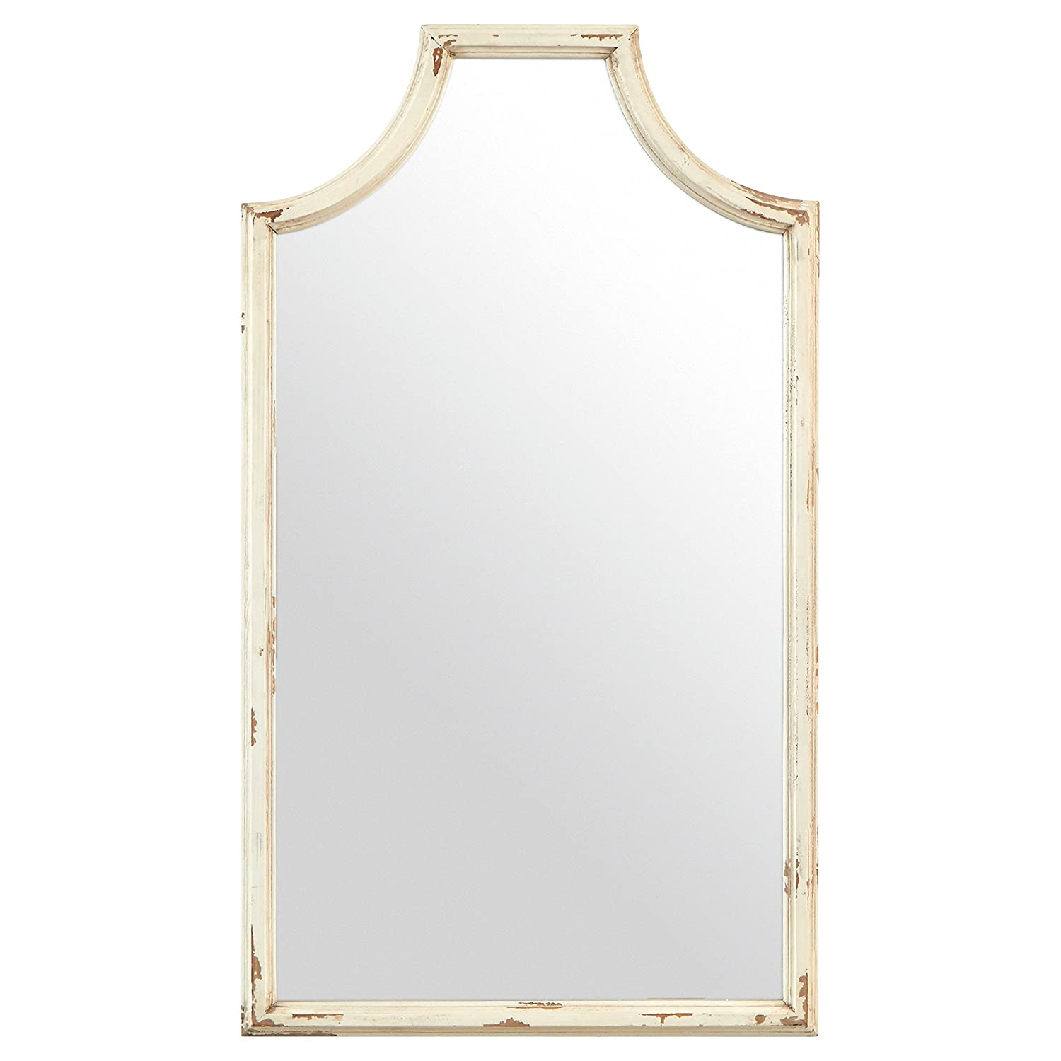 "Stone & Beam Curved Vintage-Look Wood Frame Mirror, 28""H, White"