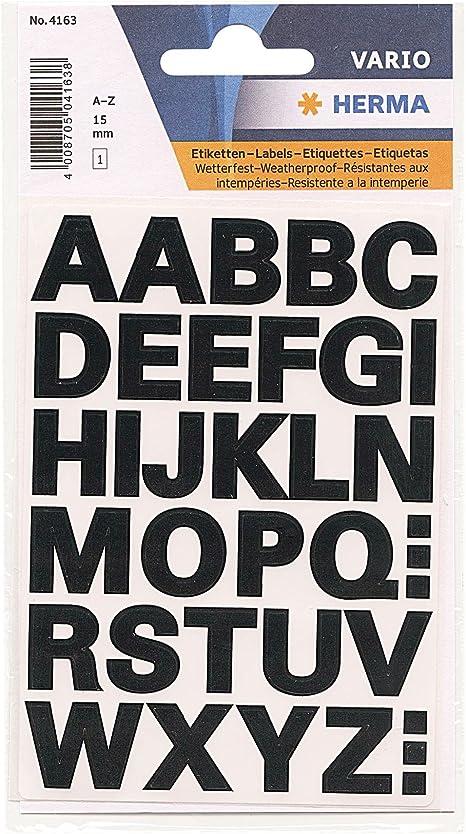 HERMA Buchstaben Sticker A-Z Folie schwarz 25 mm hoch 2 Blatt à 14 Sticker