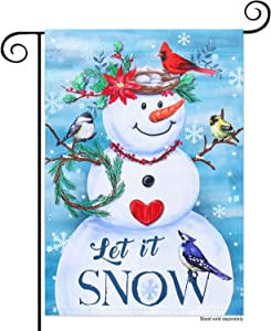 YMYIELD Snowman Garden Flags 12x18 Double Sided, Let It Snow Christmas Flags, Gift for Family, Winter Snowflake Bird Courtyard Banner Outdoor Indoor Lawn Home Decoration