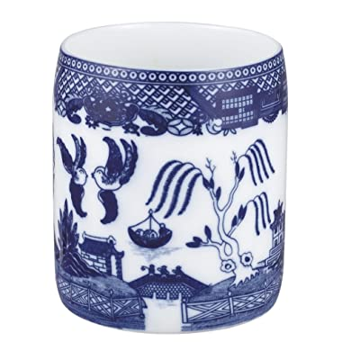 HIC Harold Import Co. YK-405 Blue Willow Utensil and Kitchen Tool Holder, Fine White Porcelain, 6-Inches