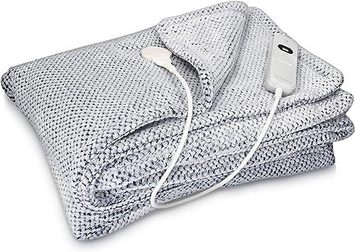 Navaris Manta eléctrica con termostato - Colcha XXL lavable 180 x 130 CM - Manta térmica con regulador de temperatura 3 niveles - Azul y gris: Amazon.es: Salud y cuidado personal