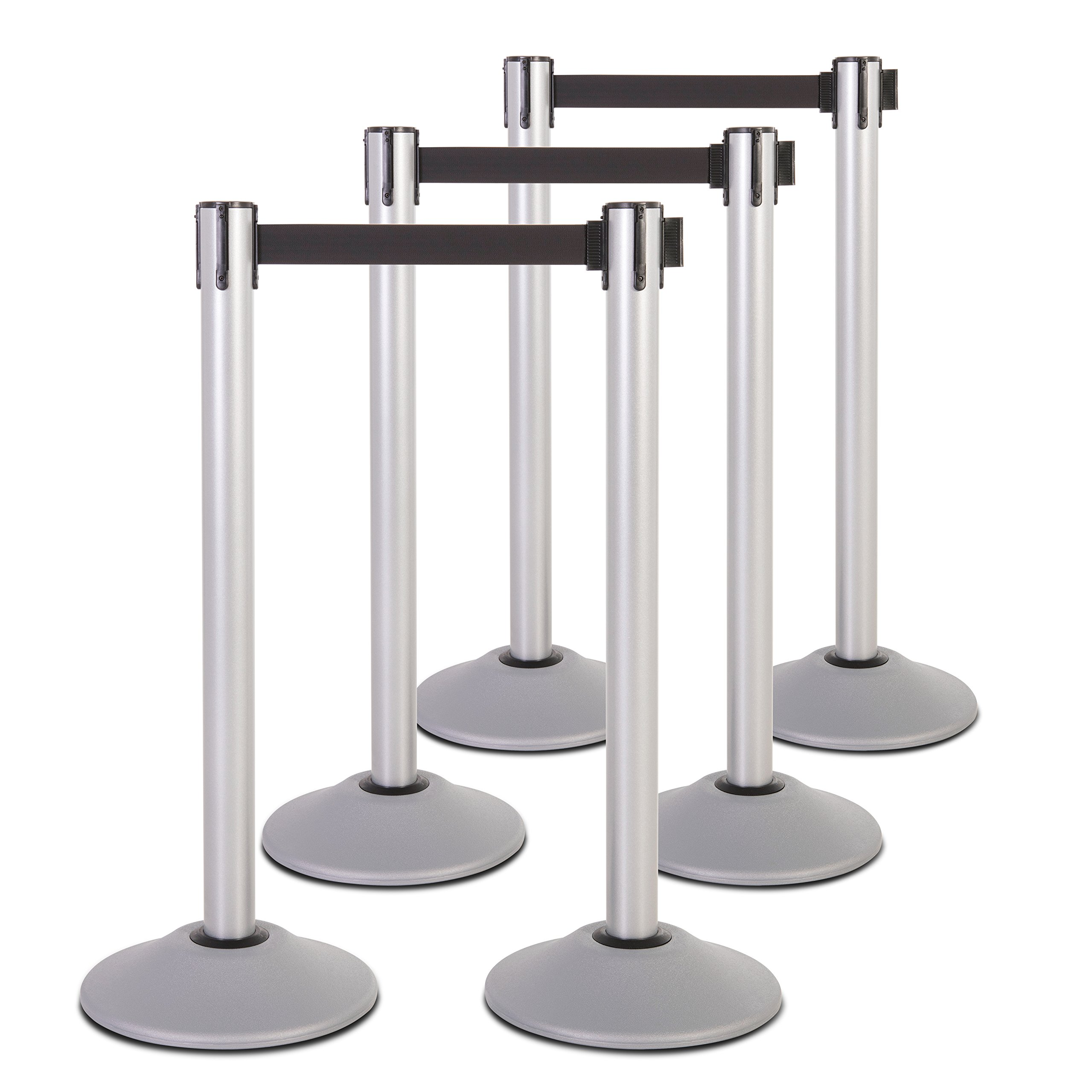 US Weight Heavy Duty Premium Steel Stanchion with Extended 13-Foot Retractable Belt – Silver – Six Pack