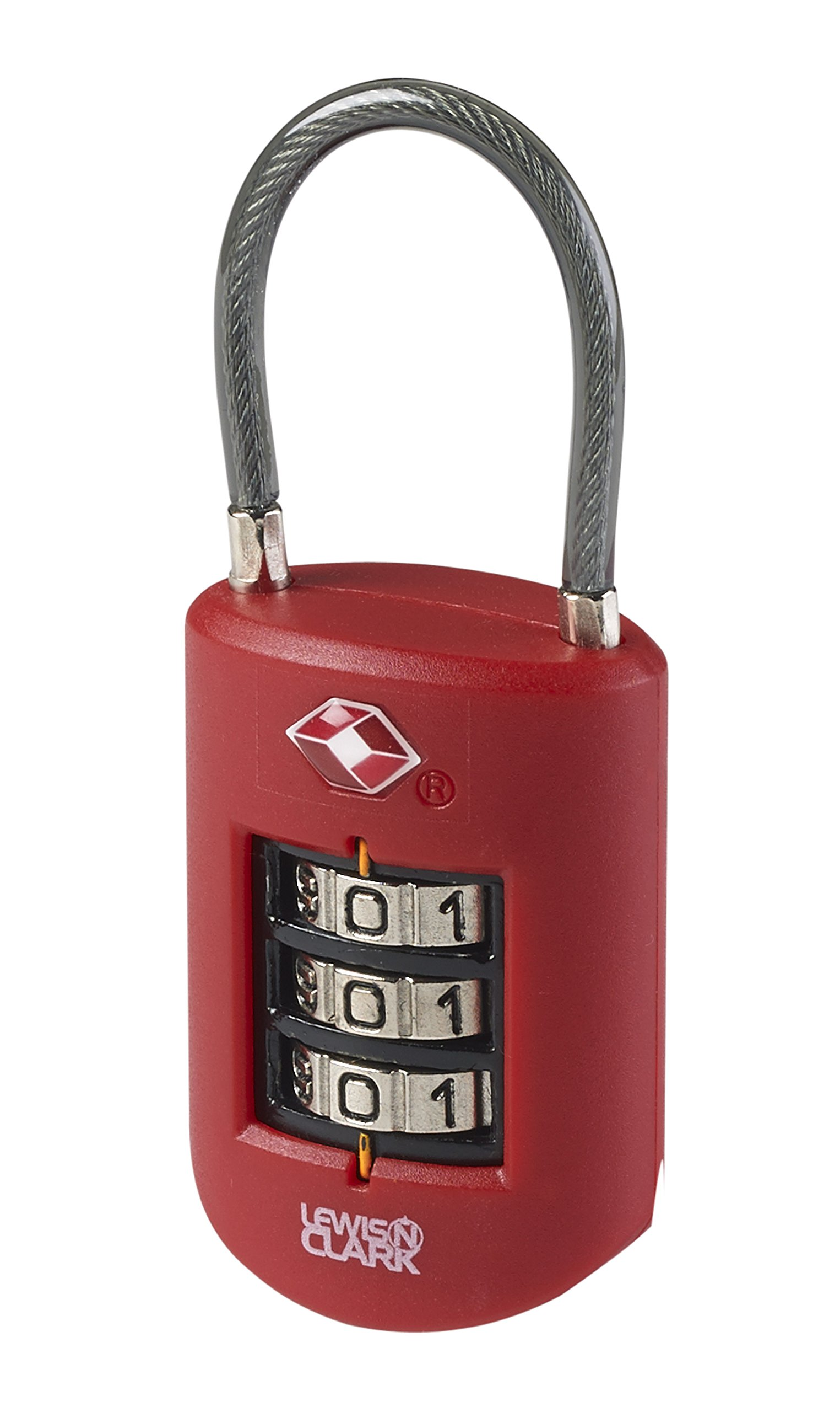 Lewis N Clark Travel Sentry Large Dial Cable Lock, Red, One Size