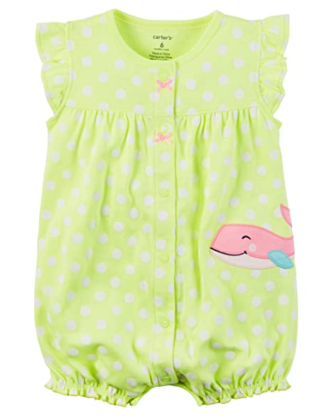 261117a39e8 Amazon.com  Carter s Baby Girls  Dotted Whale Snap up Romper  Clothing
