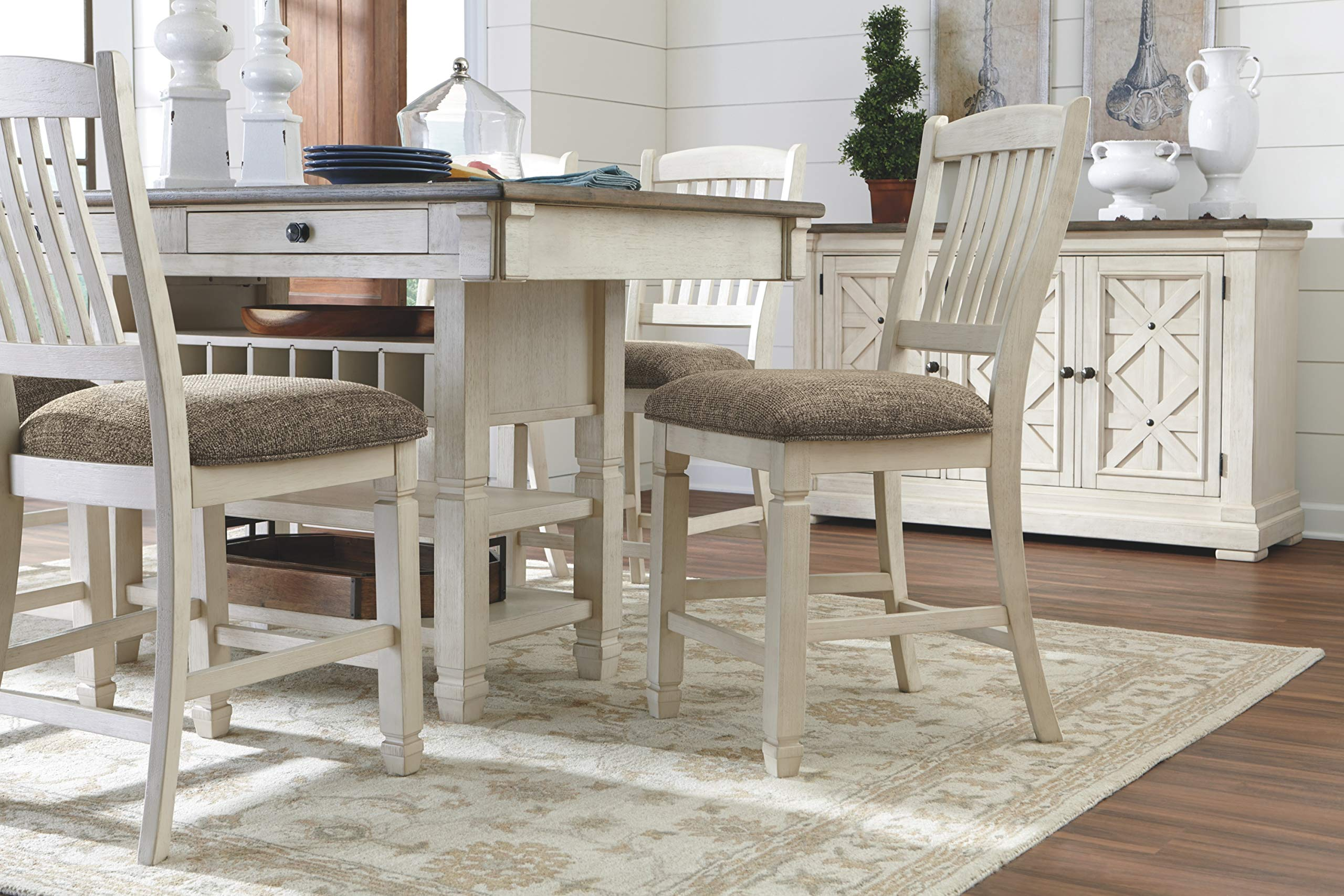 Ashley Furniture Signature Design - Bolanburg Counter Height Dining Room Table - Antique White by Signature Design by Ashley (Image #6)