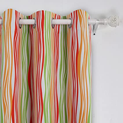 Deconovo Room Darkening Curtains For Bedroom Blackout Curtains Kids Vibrant  Waves Grommet Striped Curtains 42 X