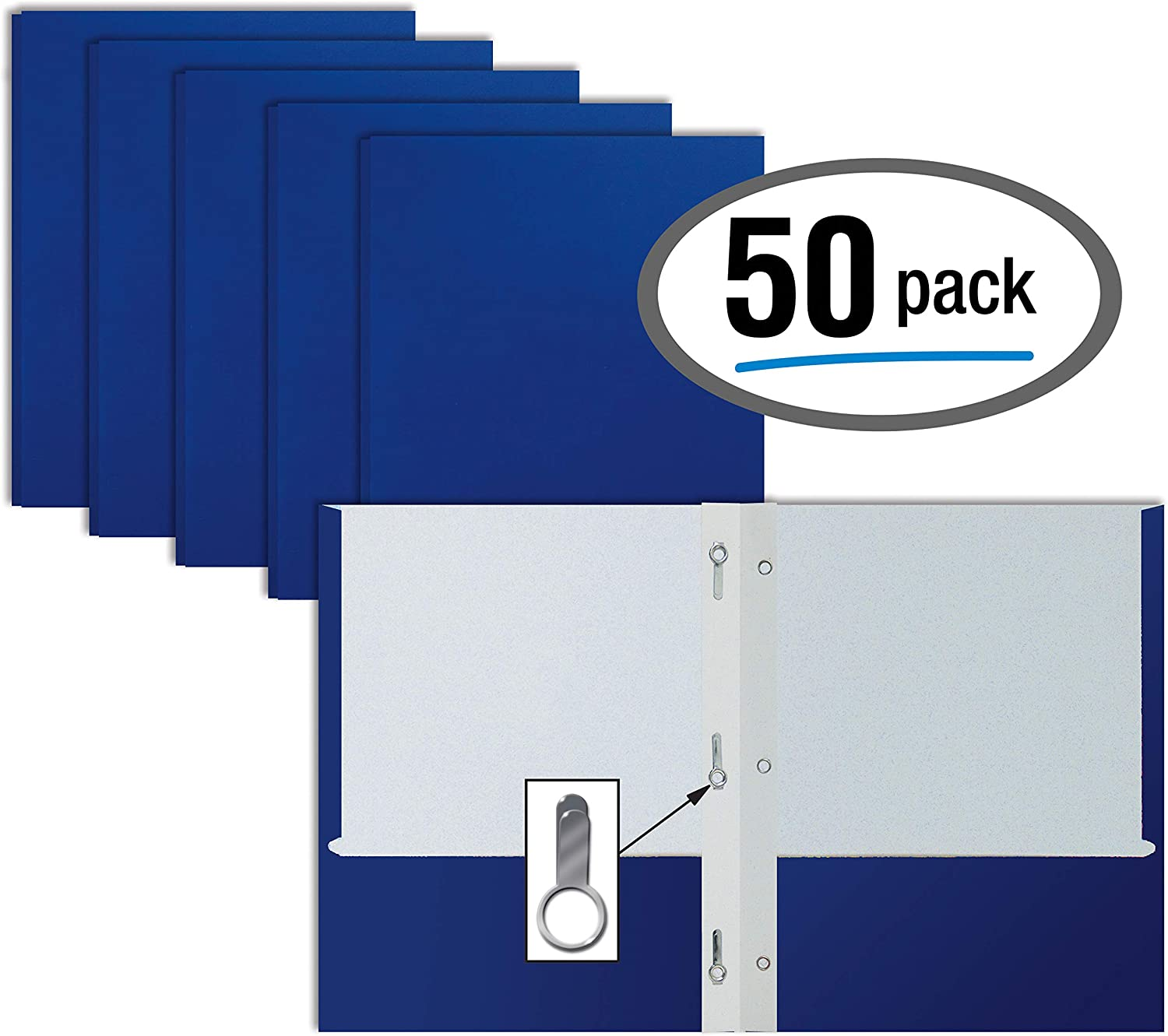 Blue Paper 2 Pocket Folders with Prongs, 50 Pack, by Better Office Products, Matte Texture, Letter Size Paper Folders, 50 Pack, with 3 Metal Prong Fastener Clips, Blue