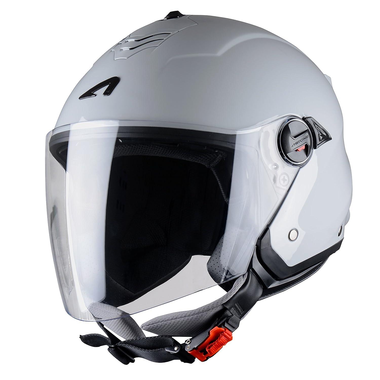 Light Grey Gloss Coque en polycarbonate MINIJET S monocolor Astone Helmets Casque compact Casque jet usage urbain Casque jet