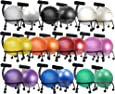 """Isokinetics Inc. Brand Adjustable Fitness Ball Chair - Metal Frame - 2 Frame Finishes - Exclusive: 60mm (2.5"""") Wheels - Multiple Ball Color Choices - Adjustable Base and Back Height"""