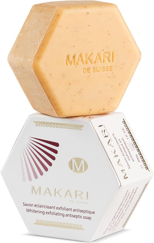 Jabón Makari clásico exfoliante antiséptico de blanqueamiento, 200 g Pastilla de jabón limpiadora e hidratante para cara y cuerpo. Ilumina la piel y atenúa las marcas y la hiperpigmentación: Amazon.es: Belleza
