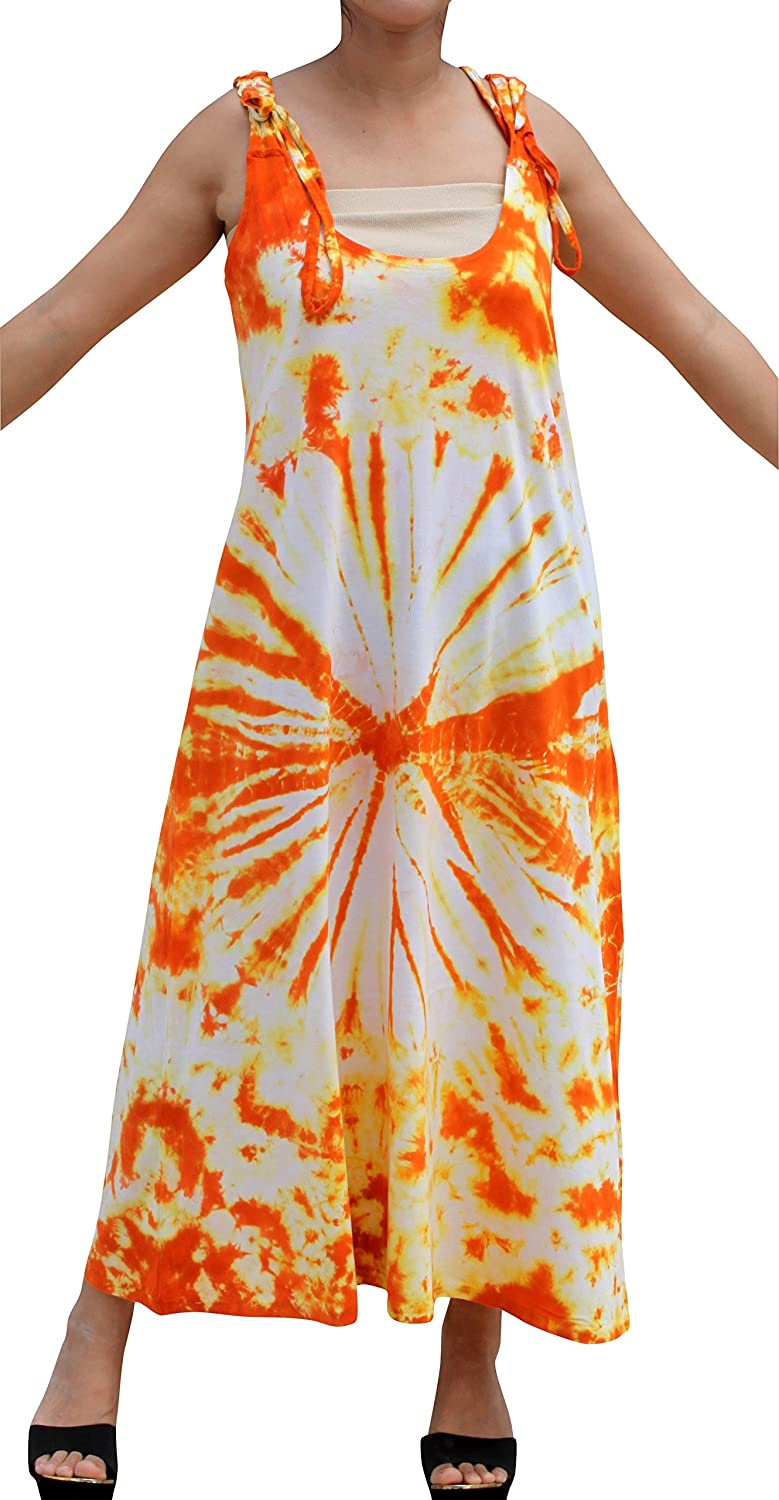 orange Yellow Full Funk Psychedelic Woven Cotton Tie Dyed Dress with Adjustable Shoulder Straps