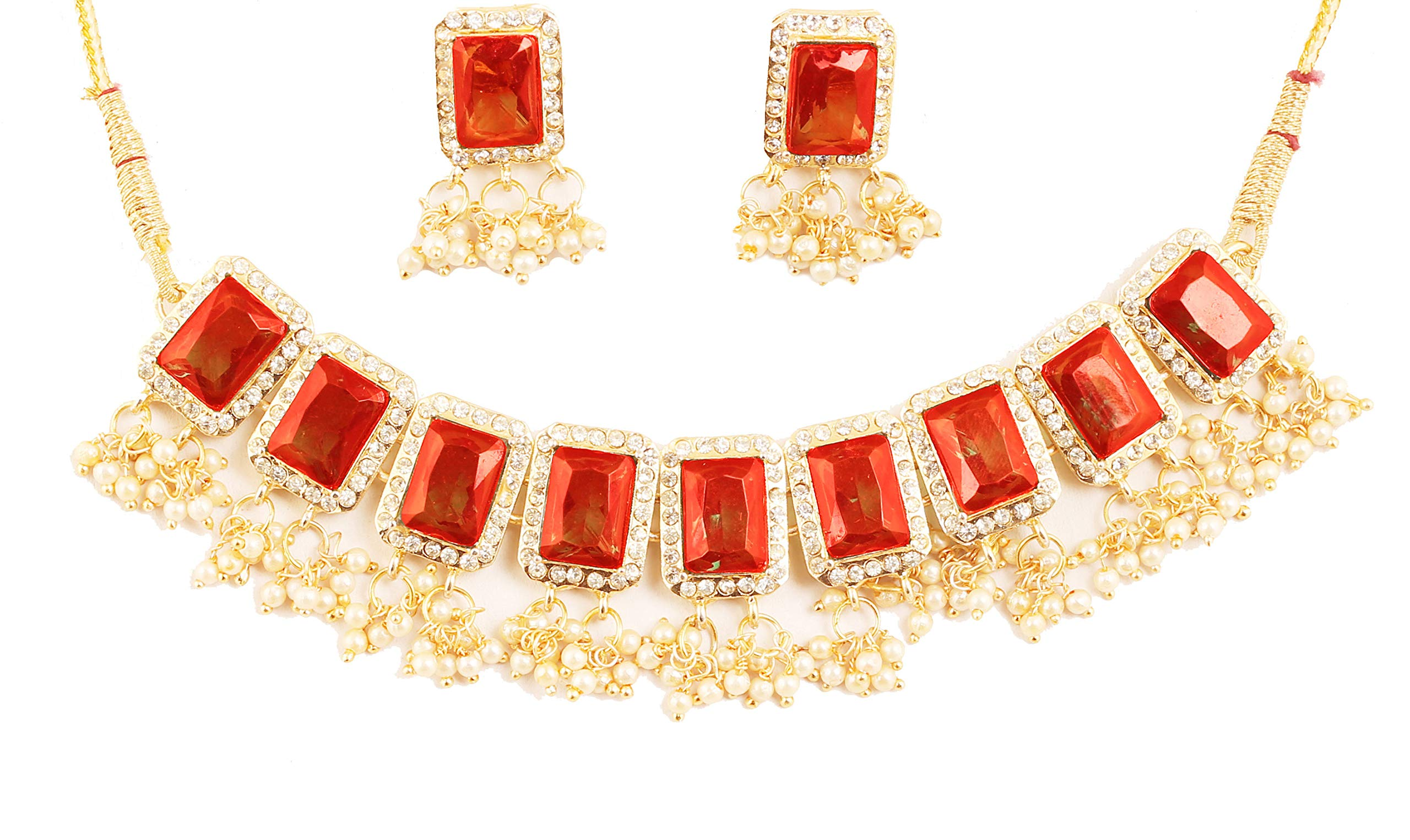 Touchstone NEW Indian Bollywood Studded Style Rectangular Shape Red Faux Ruby And Faux Pearls Bunches Designer Jewelry Bridal Choker Necklace Set In Gold Tone For Women.