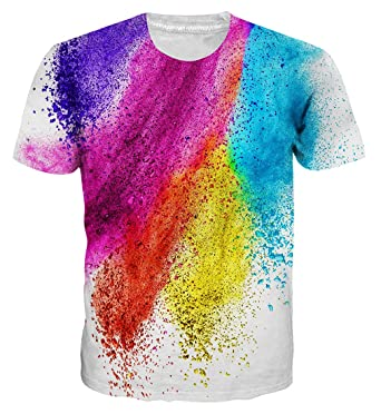 Loveternal Falling Colored Powder Printed Short Sleeve T-Shirts Graphic  Round Neck Shirt Regular Fit 5362cc89a45f