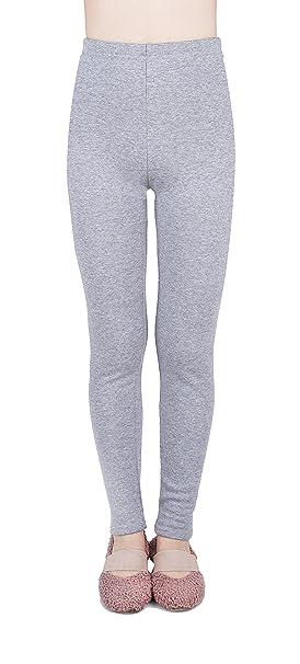 6066e41185750a IRELIA Kids Girls 100% Cotton Fleece Lined Solid Leggings Warm Pants for  Winter Light Grey