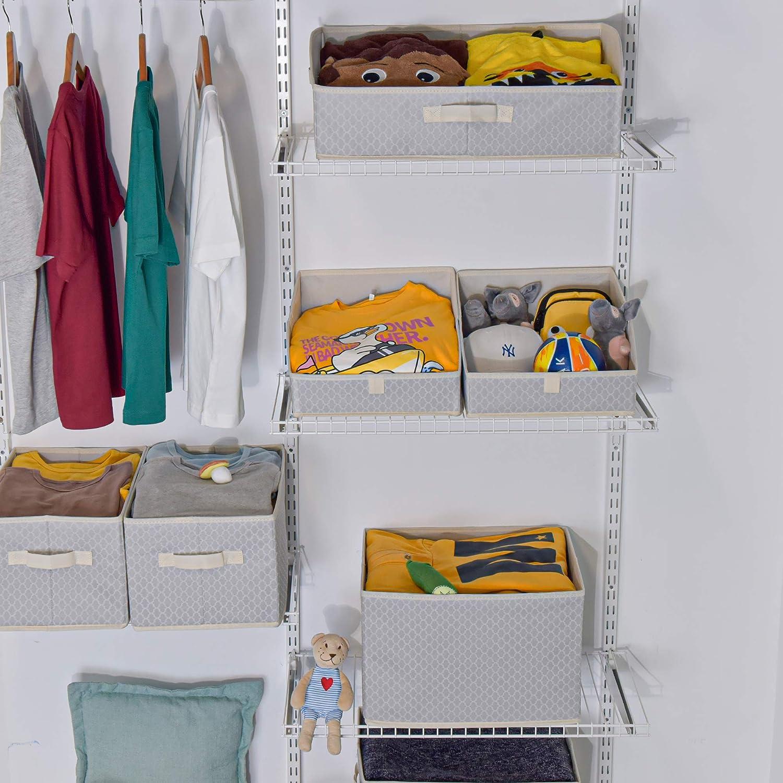 Dark Gray and White Trapezoid Nursery Storage for Shelf with a Front Handle GRANNY SAYS Storage Bins 3-Pack Medium Toy Open Storage Baskets Kids Closet Organizer Bins