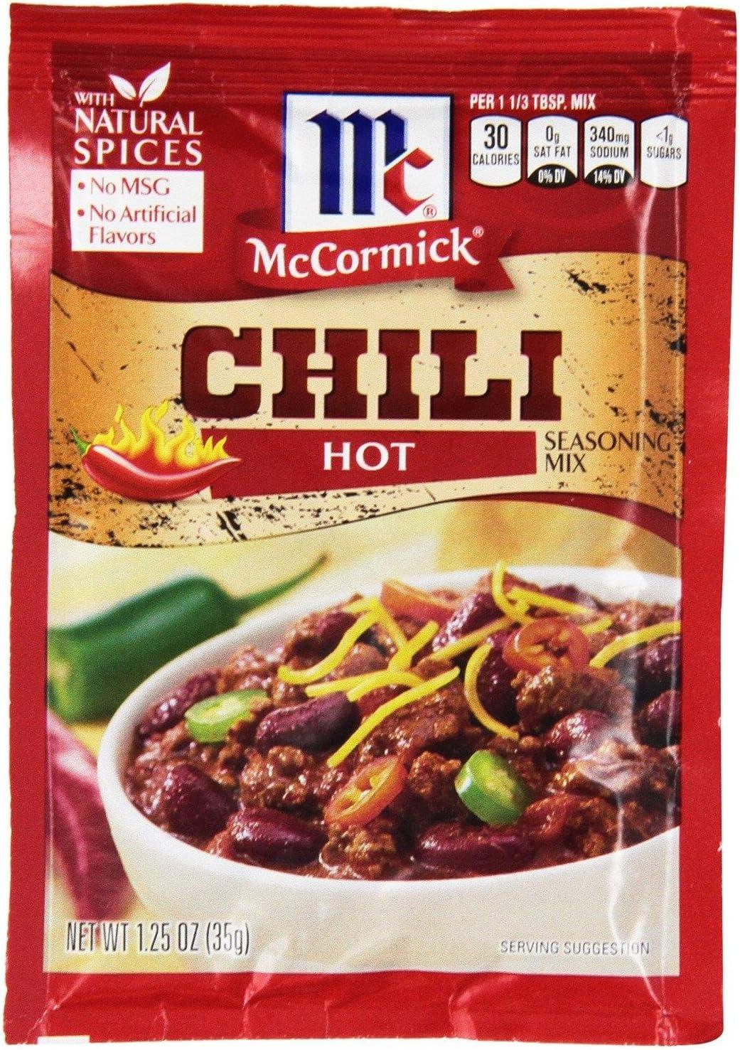 McCormick HOT Chili Seasoning Mix (Pack of 4) 1.25 oz Packets